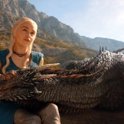 "Daenerys Targaryen ""Khaleesi"" (Emilia Clarke) with Drogon in Game of Thrones"