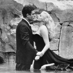 Marcello Mastroianni and Anita Ekberg in La Dolce Vita directed by Federico Fellini